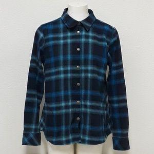 Orvis Womens LG Flannel Plaid Shirt Jacket Blue